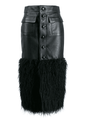Saint Laurent faux-feather trim fitted skirt - Black
