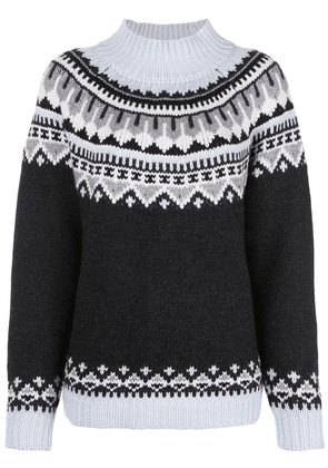 Autumn Cashmere relaxed-fit fair isle knit jumper - Grey