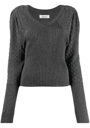Circus Hotel metallic ribbed long sleeve top - Grey