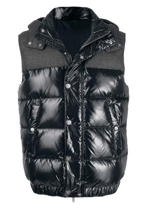 Eleventy quilted hooded gilet - Blue