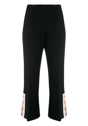 Elisabetta Franchi cropped button-cuff trousers - Black