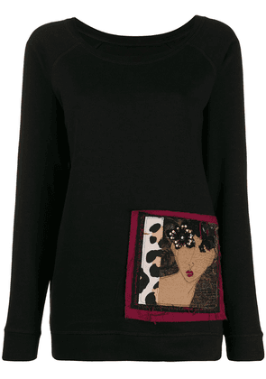 Antonio Marras face embroidered sweatshirt - Black