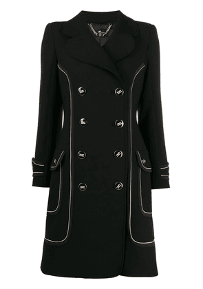 Elisabetta Franchi contrast piping double-breasted coat - Black