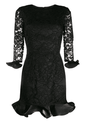 Elisabetta Franchi lace overlay peplum party dress - Black