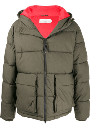 Closed padded hooded jacket - Green