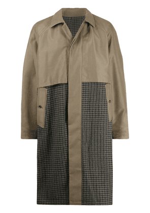 Attachment waxed houndstooth trench coat - Green