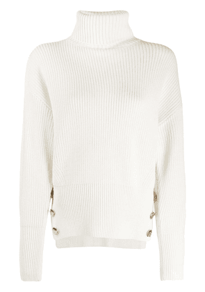 Elisabetta Franchi long roll neck jumper - White