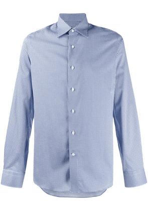 Canali long sleeved printed shirt - White