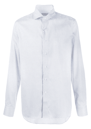 Canali all-over patterned fitted shirt - White