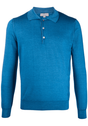 Canali long sleeve polo shirt - Blue