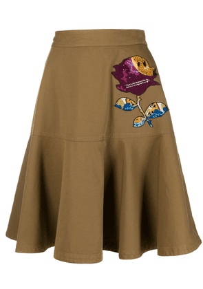 Valentino Valentino x Undercover sequin embroidery skirt - Brown