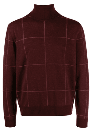 Canali checked roll-neck sweater - Red