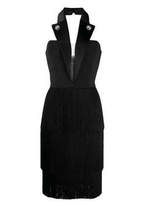 Elisabetta Franchi halter-neck fringed dress - Black