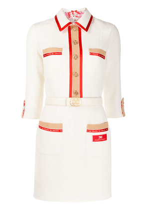 Elisabetta Franchi logo trim shirt dress - White