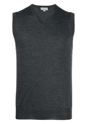 Canali v-neck knitted vest - Grey