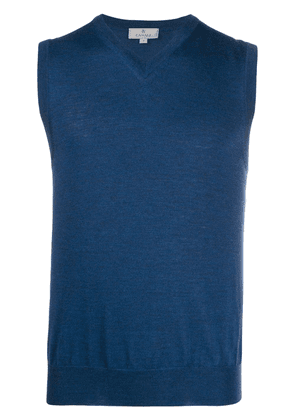 Canali V-neck knitted vest - Blue