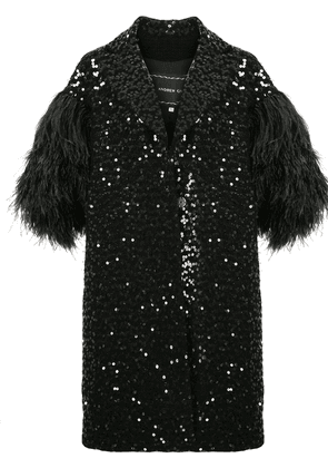 Andrew Gn feather-sleeved sequin coat - Black