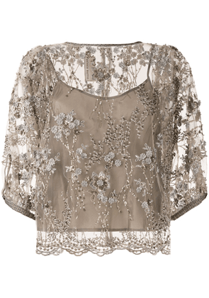 Antonio Marras embroidered layered blouse - Brown