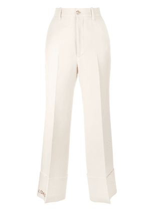 Gucci Loved embroidered straight-leg trousers - NEUTRALS