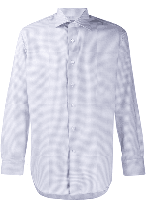 Canali check print spread collar shirt - Blue