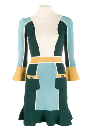 Elisabetta Franchi panelled turtleneck dress - Green