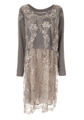 Antonio Marras lace sweatshirt midi dress - Grey