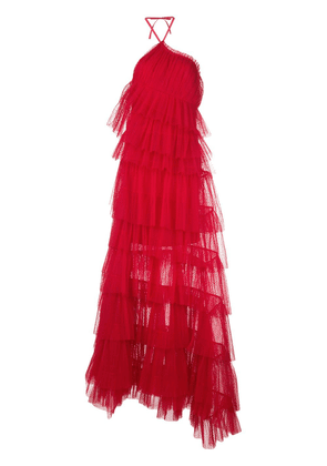 Alexis Justina ruffled-tulle maxi dress - Red