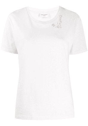 Saint Laurent guitar motif T-shirt - White