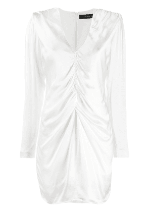 Federica Tosi ruched V-neck dress - White