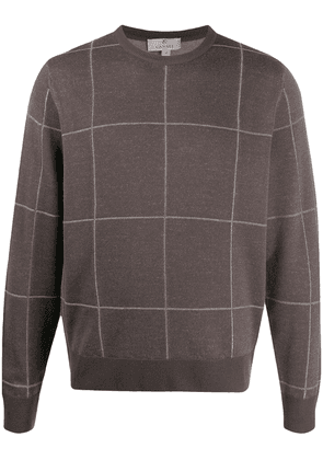 Canali checked crew neck jumper - Brown
