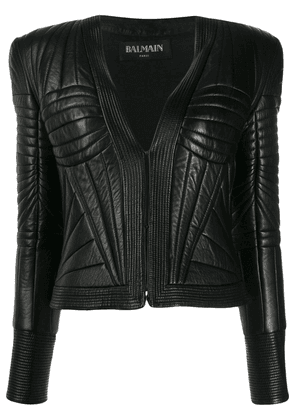 Balmain quilted leather jacket - Black