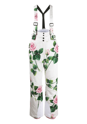 Dolce & Gabbana tropical rose print ski trousers - White