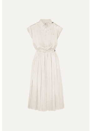 Fendi - Pleated Striped Silk Midi Dress - White
