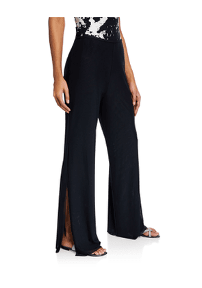 Double-Layer Wide-Leg Split Coverup Pants
