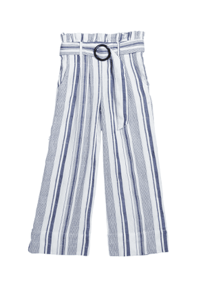 Girl's Striped Paper Bag Belted Pants, Size 7-14