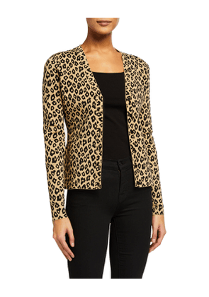 Leopard-Print Button-Front Cardigan