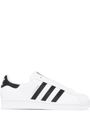adidas black and white superstar leather sneakers