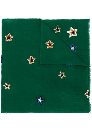 Altea star embroidered frayed edge scarf - Green