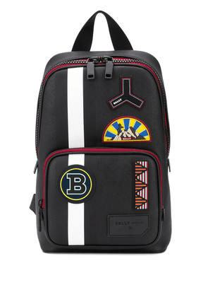 Bally multi-logo patch logo embroidered backpack - Black