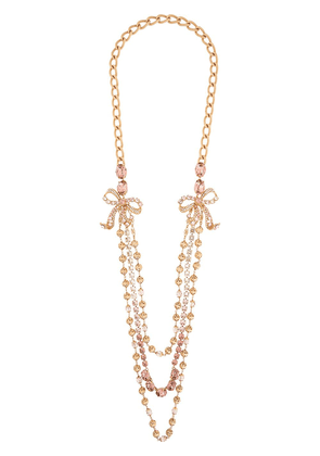 Dolce & Gabbana beaded crystal bow layered necklace - GOLD