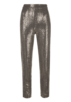 Badgley Mischka cropped sequin embellished trousers - GOLD
