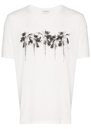 Saint Laurent palm tree print T-shirt - White