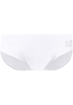 Ea7 Emporio Armani metallic logo print swimming trunks - White