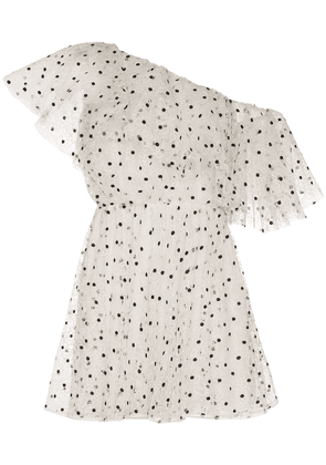 Giambattista Valli one-shoulder polka-dot mini dress - White