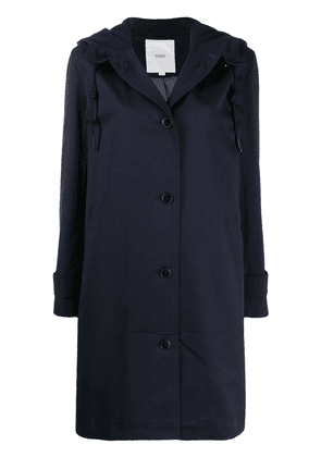 Closed drawstring hooded single-breasted coat - Blue