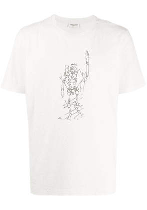 Saint Laurent Destroyed Skeleton print T-shirt - White