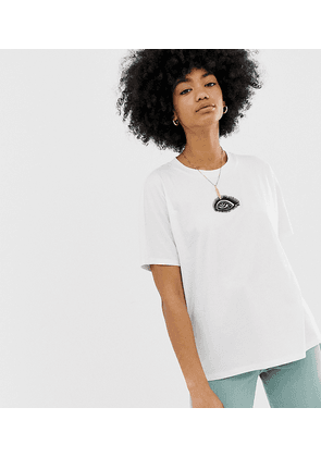 Weekday embroidered eye t-shirt in white-Multi