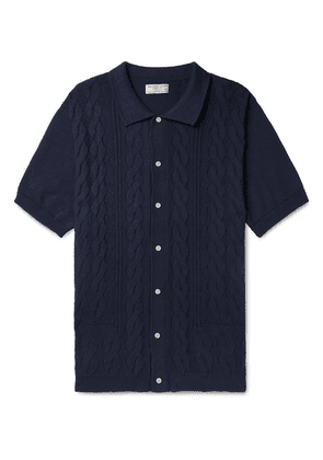 J.Crew - Wallace & Barnes Cable-knit Cotton Cardigan - Navy