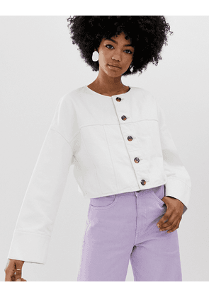 Weekday cropped denim jacket with buttons in white