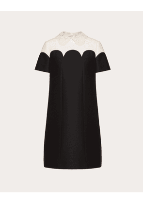 Valentino Embroidered Crepe Couture Dress Women Black/ivory Virgin Wool 65%, Silk 35% 42